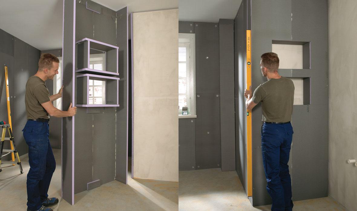 Badgestaltung Nische, Regal, Trennwand aus XPS